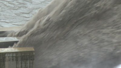Flood Waters Blast From Dam Hydroelectric Plant