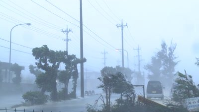 Violent Hurricane Eyewall Winds Lash City