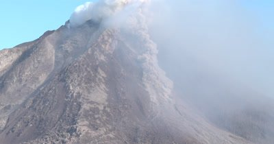 Pyroclastic Flow Forms During Eruption At Sinabung Volcano