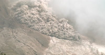 Huge Pyroclastic Flow Surges From Volcano During Major Eruption
