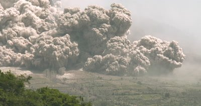 Large Pyroclastic Flow Destroys Farmland During Major Volcanic Eruption