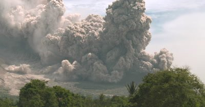Massive Volcanic Eruption Pyroclastic Flow Sweeps From Volcano