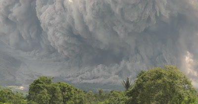 Large Volcanic Ash Cloud As Sinabung Volcano Erupts