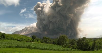 Huge Volcanic Ash Clouds Billows Into The Sky After Major Eruption