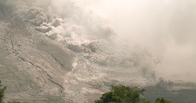 Pyroclastic Flow Volcanic Eruption At Sinabung Volcano