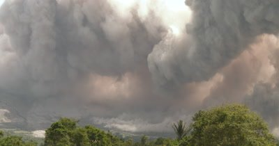 Clouds Of Volcanic Ash Erupt From Sinabung Volcano