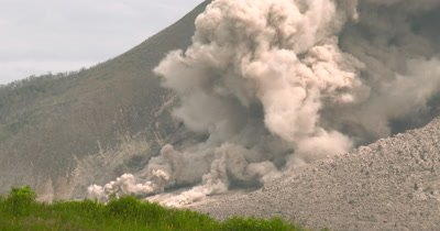 Small Pyroclastic Flow During Eruption At Sinabung Volcano