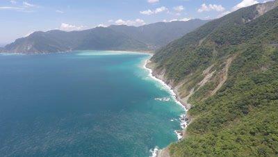 Aerial Footage Stunning Mountain Coastline In Taiwan