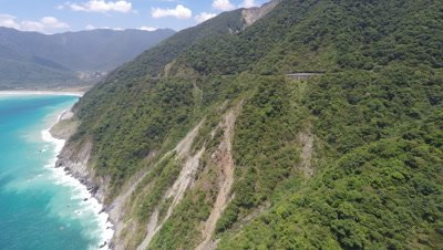 Aerial Footage Stunning Mountain Coastline In Taiwan