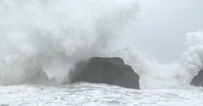Massive Waves Crash Into Rocks As Hurricane Nears Land