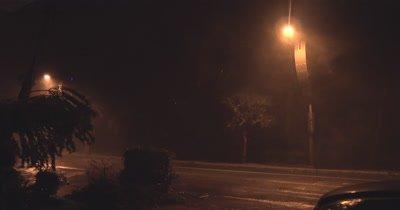 Hurricane Wind And Rain Rip Through City At Night