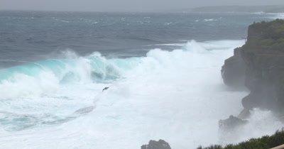 Large Hurricane Waves Batter Rocky Cliffs
