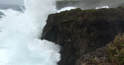 People Swamped By Huge Hurricane Wave Crashing Into Cliffs