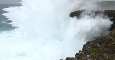 Huge Hurricane Waves Crash Into Cliffs