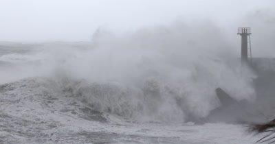 Huge Hurricane Waves Crash Into Port Sea Wall