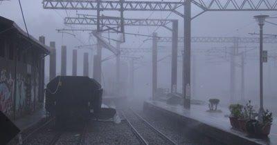 Violent Hurricane Winds Hit Railway Yard