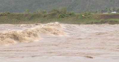 Raging River After Hurricane Dumps Torrential Rain