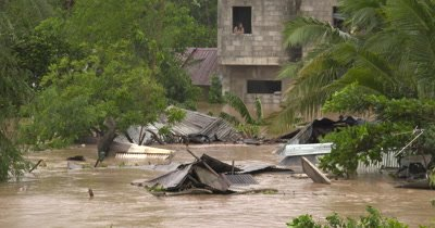 Flood Water Swamp Village After Hurricane