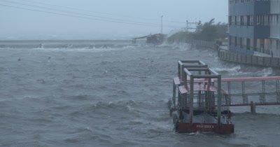 Hurricane Winds Rough Sea In Harbor