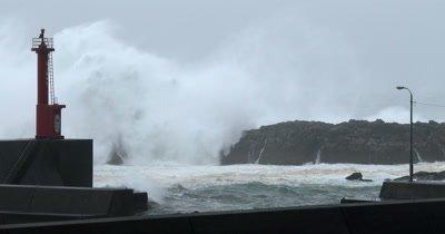 Large Waves Batter Sea Defenses During Hurricane