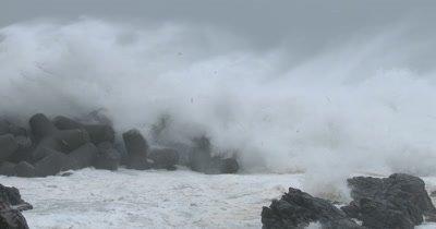 Huge Waves Crash Into Sea Wall In Hurricane