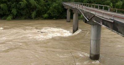 River In Full Flood After Heavy Hurricane Rain