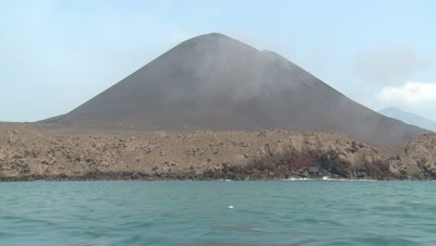 Sailing Past Anak Krakatau Volcano Indonesia