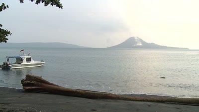 Scenic View Of Anak Krakatau Volcano Indonesia