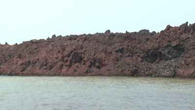 Fresh Volcano Lava Flow Cools In Sea Water