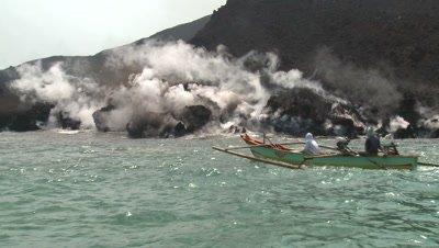 Boat Sails Close To Active Lava Flow