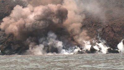 Lava Flow Water Sea Entry Explosive Activity Anak Krakatau Volcano