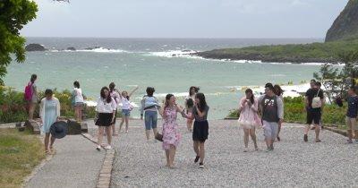 People Watch Rough Sea As Coastal Access Blocked Ahead Of Typhoon