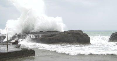 Large Waves Batter Coastline As Hurricane Approaches Land