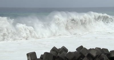 Huge Waves Spawned By Major Hurricane Crash Onto Beach