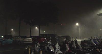 Winds And Rain Swirl Through Street As Hurricane Nears Landfall