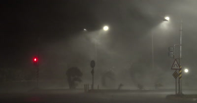 Major Hurricane Violent Wind Blows Debris Across Street