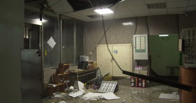 Destructive Hurricane Wind Destroys Lobby Of Building
