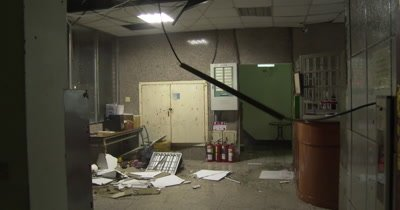 Violent Hurricane Wind Destroys Lobby Of Building