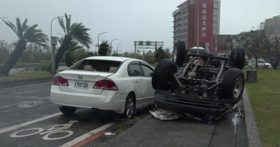 Aftermath Cars Flipped By Extreme Wind Of Major Hurricane