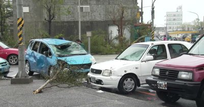 Damage To Cars In Aftermath Of Major Hurricane Landfall