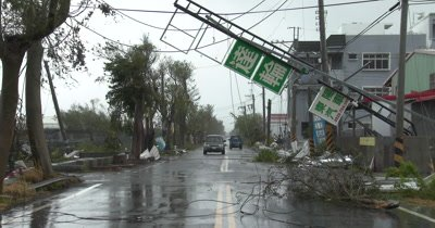 Major Damage To City Streets In Aftermath Of Powerful Hurricane Landfall