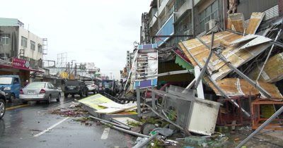 Major Hurricane Aftermath Shop Front Destroyed By Strong Wind