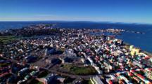 Aerial Over City Of Reykjavik, Iceland