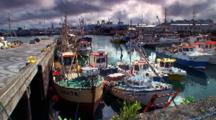 Boats In Reykjavik Harbor, Storm Clouds Behind