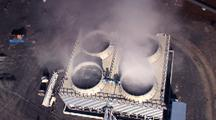 Aerial Close Up Above Geothermal Power Plant
