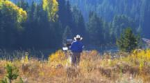 Plein Air Artist With Easel, Painting, Fall Colors