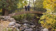 Fair Haired Couple, Pregnant Woman, On Bridge In Park Over Creek