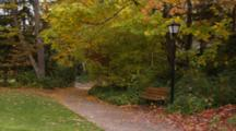 Lithia Park, Path Near Park Bench, Street Lamp With Colorful Fall Leaves
