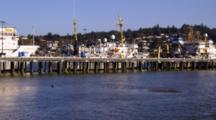 Panorama Of Newport, Oregon Harbor And Research Vessels