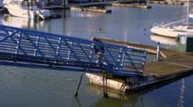 Scruffy Old Fishermen Leaves Dock Of Harbor Up Gangway